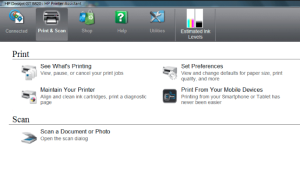 HP Deskjet GT 5820 Printer Functions