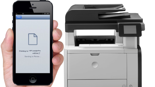 Print from iphone to HP Laserjet Pro m521dn